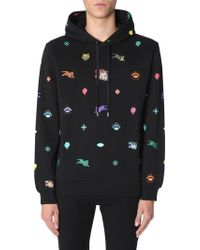 KENZO - Hooded Cotton Sweatshirt With Multiple Printed Icons - Lyst
