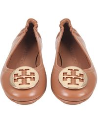 Tory Burch - Minnie Travel Leather Ballerinas With Metal Logo - Lyst