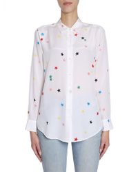 "Equipment - ""essential"" Silk Shirt With Stars Print - Lyst"