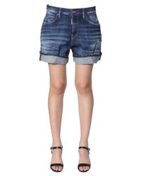 DSquared² Denim Shorts With Cuffs - Blue