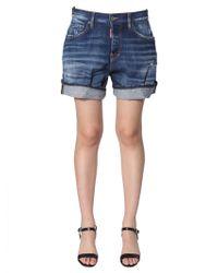 DSquared² Denim Shorts With Cuffs - Blue