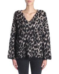 Stella McCartney - Leopard Printed V Collar Jumper - Lyst
