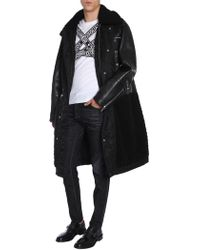 DSquared² Long Nylon Coat With Leather Sleeves And Shearling Inserts - Black