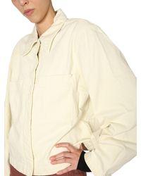 Lemaire Giacca Camicia In Denim Di Cotone Con Maxi Tasche - White
