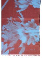 Paul Smith Cotton Floral Print Scarf - Orange