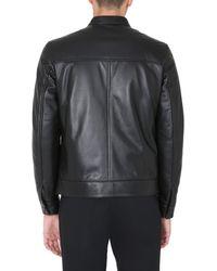 Z Zegna Leather Bomber Biker With Zip - Black