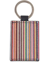 Paul Smith Striped Leather Key Ring With Logo - Black