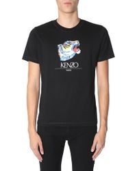KENZO - Cotton T-shirt With Tiger Head Print - Lyst