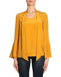 MICHAEL Michael Kors - Silk Shirt With Bell Sleeves - Lyst