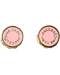 Marc Jacobs ORECCHINI THE MEDALLION STUDS IN OTTONE SMALTATO - Rosa