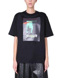 MSGM Crew Neck Cotton Jersey T-shirt With Suspiria Print - Black