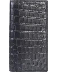 Saint Laurent Coconut Print Classic Continental Leather Wallet - Black