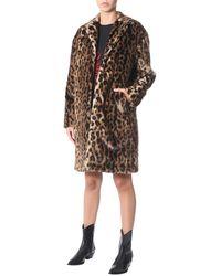 N°21 Leopard Printed Eco-fur Coat - Multicolour