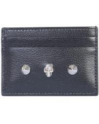 Alexander McQueen Black Skull & Stud Leather Card Holder Accessories