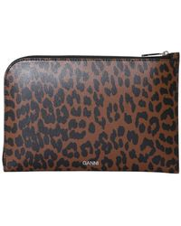 Ganni Leather Pouch With Logo - Multicolour