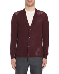 Maison Margiela - V Collar Wool Cardigan With Detroyed Details - Lyst