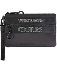 Versace Jeans Couture Nylon Pouch With Logo - Black