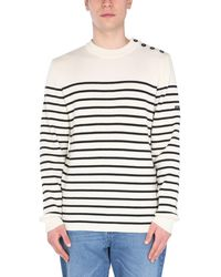 """Saint James """"galiote V R"""" Wool Sweater With Stripe Pattern - White"""