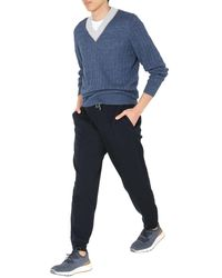 Brunello Cucinelli Braided Linen And Cotton Sweater With Contrasting Details - Blue
