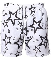 Dolce & Gabbana Medium Swimsuit With All Over Star Print - White