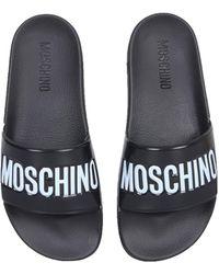 Moschino Rubber Slide Sandals - Black