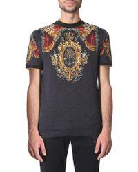 Dolce & Gabbana T-Shirt In Cotone Stampa Araldica - Nero