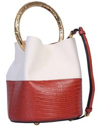 Marni Pannier Bag With Canvas And Leather Gold Handle - Brown