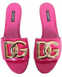 Dolce & Gabbana Slide Sandals With Dg Logo - Pink