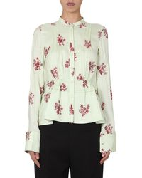 Jil Sander Korean Collar Shirt With Embroidered Fil Coupe - Green