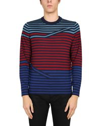 PS by Paul Smith Crew Neck Merino Wool Sweater With Iconic Stripes - Blue