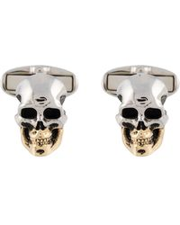 """Paul Smith """"skull"""" Gold And Silver Finish Cufflinks - White"""