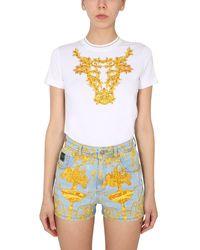 Versace Jeans Couture T-SHIRT GIROCOLLO IN JERSEY DI COTONE CAPSULE CAPODANNO LUNARE - Bianco
