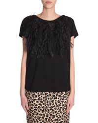 N°21 Cotton Jersey T-shirt With Feathers - Black
