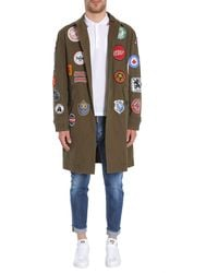 DSquared² Military Glam Trench Coat With Patches - Green