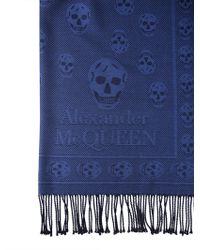 Alexander McQueen SCIARPA IN LANA JACQUARD CON SKULL - Blu