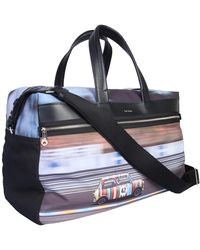 Paul Smith Mini Print Travel Bag In Technical Fabric - Blue
