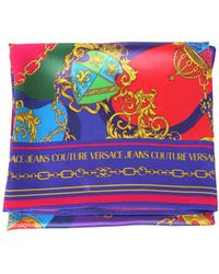 Versace Jeans Couture Silk Printed Scarf With Logo - Red