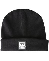 DIESEL Knit Hat With Logo Patch - Black