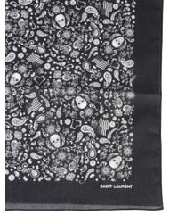 Saint Laurent FOULARD USA SKULL IN COTONE - Nero