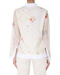 Tory Burch Cotton And Silk Blend Blouse With Floral Pattern - White