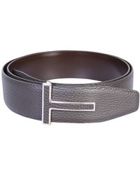 Tom Ford Leather Belt With Logo - Brown