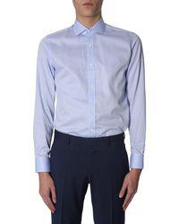 Z Zegna Slim Fit Cotton Polka Dot Shirt In Jacquard - Blue
