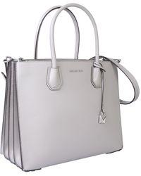 MICHAEL Michael Kors Large Mercer Hammered Leather Bag - Gray