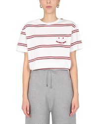 PS by Paul Smith T-SHIRT A RIGHE CON STAMPA PS FACE - Bianco