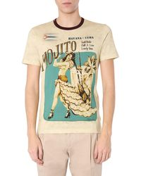 Dolce & Gabbana Mojito Print Round Neck Cotton T-shirt - Natural