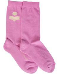 Isabel Marant Vilykia Cotton Socks With Logo - Pink