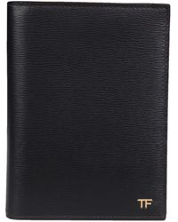 Tom Ford Saffiano Leather Passport Holder With Logo - Black