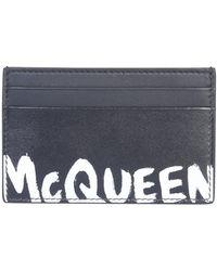 Alexander McQueen Porta Carte McQueen Graffiti - Nero