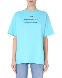 MSGM Crew Neck Cotton Jersey Printed T-shirt With Logo - Blue