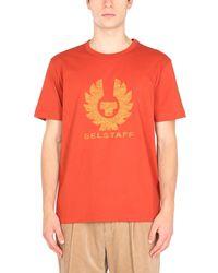 Belstaff Crew Neck Cotton Jersey T-shirt With Logo Print - Orange